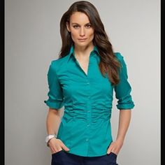 New York and Co. Stretch Collared Shirt! Super comfy and worn only twice!! Accentuates body shape and great for professional attire! New York & Company Tops