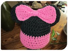 Newborn Minnie Mouse Inspired Crochet Hat by fun2make on Etsy, $12.95