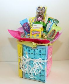 To make this easter treat you will need a sundae glass easter easter peeps candy bouquet negle Choice Image