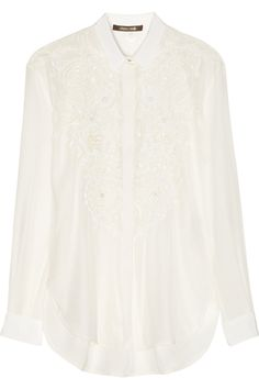 4e6cc786a5e83 Roberto Cavalli - Laser-cut embellished silk shirt