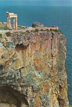 The rock of Lindos with the temple of Athrna on it, Rhodes, Greece