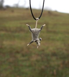 possum, felt animal, necklace