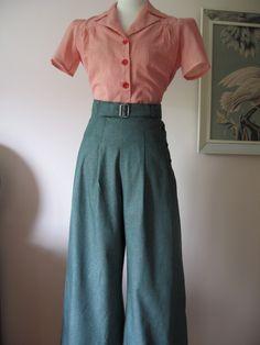 1930's 1940's VINTAGE STYLE GREEN DENIM WIDE LEG PANTS- winter guard 2013