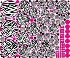 42 Zebra Circle Polka Dots Hot Pink Black 112 Dots Wall Sticker ...