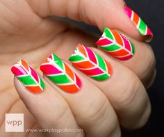 Nail art design using Nicole by OPI Notorious! NEONS mini kit and striping tape.