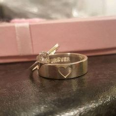 Couples Promise Ring Set by JewelryRB is a simple, beautiful and perfect personalized gift idea for couples to show the intertwining of your two hearts. You can customize stamping the rings with: initials/anniversary date/roman numerals/short words. By default, we will stamp I LOVE YOU on
