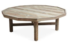 """Octagonal 48"""" Coffee Table, Natural"""