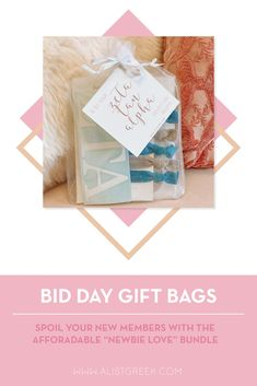 Spoil your new members this recruitment with the Newbie Love bundle! Gift bag includes a sorority decal, hair tie set, and button set. Zeta Tau Alpha Gifts | Zeta Tau Alpha Bid Day | ZTA New Member Gifts | Zeta Phi Rush Gift Bags | Zeta Tau Alpha Recruitment | Sorority Bid Day | Sorority Recruitment | Bid Day Bags | Sorority New Member Gift Ideas #BidDayGifts #SororityRecruitment Alpha Epsilon Phi, Alpha Sigma Alpha, Alpha Chi Omega, Sorority Bid Day, Sorority Recruitment, Bid Day Gifts, Letter Decals, Delta Chi, Elastic Hair Ties