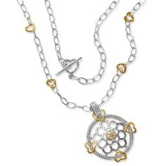 HALF PRICE Diamond and Toggle Clasp Necklace in Sterling Silver with 14 Karat Gold Hearts