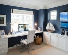 Trendy Home Office Inspiration Study Areas Interiors Cozy Home Office, Guest Room Office, Home Office Space, Home Office Design, House Design, Desk Office, Study Office, Office Style, Office Furniture