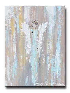 ORIGINAL Abstract Angel Painting Guardian Angel Inspirational Art Blue Green White Textured Modern Wall Decor - Christine Krainock Art - Contemporary Art by Christine - 1