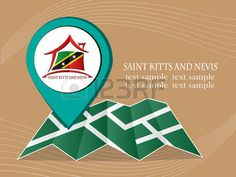 map with pointer flag Saint Kitts and Nevis vector illustration