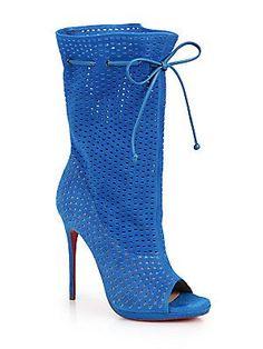 e14ecb5b7 Christian Louboutin - Jennifer Perforated Suede Open-Toe Boots