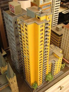 N Scale city models and skyscrapers (future train layout) - SkyscraperPage Forum N Scale Model Trains, Model Train Layouts, Scale Models, N Scale Train Layout, N Scale Buildings, Appartement Design, City Model, Outdoor Toys, Model Building
