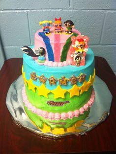 Power Puff Bubbles Birthday Cake