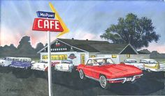 2013 Calendar George Boutwell - This is the Midpoint Cafe - the halfway point on Route 66 - in Adrian, TX - August on the calendar.