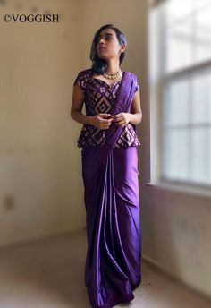 Violet Sarees Sequin With Peplum Blouse / Indian Usa / / Modern Wedding Dress Size 8 (M) Saree Blouse Patterns, Fancy Blouse Designs, Blouse Neck Designs, Indian Fashion Dresses, Dress Indian Style, Indian Designer Outfits, Indian Wear, Saree Wearing Styles, Saree Styles