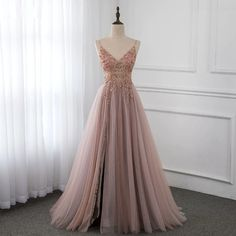 Elegant Tulle Spaghetti Straps Appliques Prom Dresses with Front Slit Online A Line Prom Dresses, Tulle Prom Dress, Wedding Bridesmaid Dresses, Cheap Prom Dresses, Party Dress, Formal Dresses, Grad Dresses, Long Dresses, Cheap Tulle