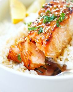 Low FODMAP Recipe and Gluten Free Recipe - Baked salmon with rice