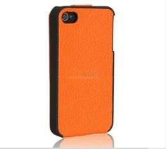Slim Leather shell 4/4S iPhone, Flip leather case, iCarer (Orange)