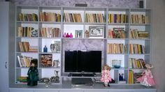 library in the living room !!