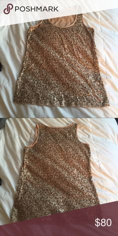 J CREW gold allover Sequin tank nude peach cotton Gorgeous tank in EXCELLENT condition with all sequins intact and no pulls or frays. Sequins in front and back. Size XS. Runs slightly roomy. Gorgeous with a tan or layered in the winter. J. Crew Tops Tank Tops