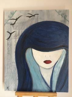 Hooded.  Original Acrylic Fine Art Painting by by JodiLynPaintings, $150.00