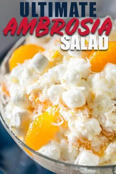 My ultimate ambrosia fruit salad is the best old fashioned recipe for it out there! I use cool whip sour cream lemon juice vanilla and lots of fruit! It's cool creamy fluffy and perfect for summer potlucks! Creamy Fruit Salads, Dessert Salads, Fruit Salad Recipes, Fruit Snacks, Fruit Fruit, Ambrosia Recipe, Ambrosia Salad, Fruit Salad Cool Whip, Jars
