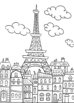 Eiffel Tower Coloring Pages and Book | UniqueColoringPages