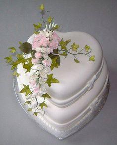 Two tier heart wedding cake - via @Craftsy