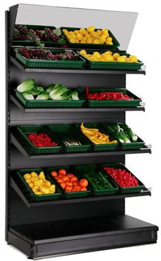 Black Fruit & Veg Wall Shelving, with Mirrored Canopy