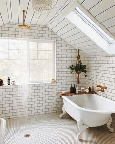simple white boho bathroom with open shower and hanging botanicals Zen Bathroom, New Bathroom Ideas, Chic Bathrooms, Dream Bathrooms, White Bathroom, Bathroom Inspiration, Bathroom Interior, Modern Bathroom, Washroom