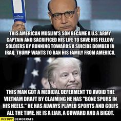 Gold Star family vs. Draft dodger. One served his country, the other served himself!