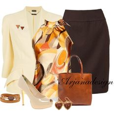 """Ms. Professional"" by arjanadesign on Polyvore. Not a big fan of the shirt pattern, but similar colors would work."