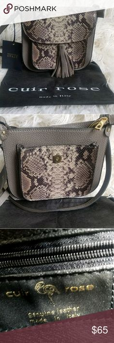 Cuir Rose Crossbody New, never worn bag.  Beautiful detail, zip and flap closure for added security. Italian  Leather Cuir Rose Bags Crossbody Bags