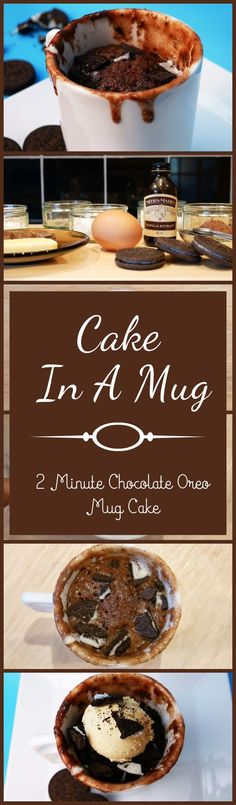 Cake In A Mug | 2 Minute Chocolate Oreo Mug Cake - Easy And Quick DIY Cake, The Perfect Chocolate Sweet Treat For The Family! by Homemade Recipes at http://homemaderecipes.com/cooking-101/how-to/cake-in-a-mug/