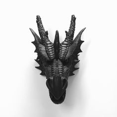 Any Color Or Black Dragon Head Wall Mount Faux Taxidermy By Kingfour Gothic Of Thrones