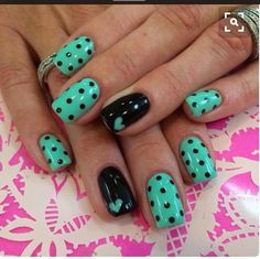 Teal and black with polka dots and a small heart Liked these ones