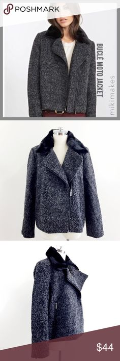 """F21 • NWT grey tweed bouclé moto jacket • Brand new with tags moto jacket from Forever 21 • bouclé fabric with asymmetric visible silver zipper • removable black fur collar • 2 front pockets with zips • visible zip at the cuff • fully lined • fits a little large, could possibly fit an XL (see measurements)  55% polyester 45% wool  ✂️  Bust = 46"""" ✂️  Waist = 46"""" ✂️  Shoulder = 16"""" ✂️  Length = 23.5""""  • sorry no trades • please feel free to ask any questions  ❤️,  @mikimakes Forever 21 Jackets…"""