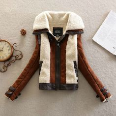 Price:$43.99 Color: Brown/Army Green Material: PU/Woolen Blends Stylish Unique Mixing Color Spliced Warm Coat
