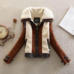 Stylish Unique Mixing Color Spliced Warm Coat