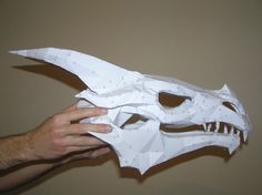 PEPAKURA - Skyrim dragon skull 2 by distressfasirt on DeviantArt Origami Tattoo, Dragon Mask, Dragon Head, Skyrim Dragon, Shrek Dragon, Dragon Puppet, Cardboard Sculpture, Cardboard Mask, Origami Dragon