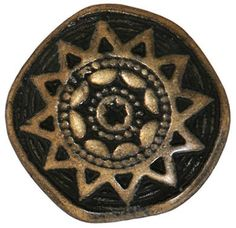 Fancy and Decorative {17mm w/ 3mm Back Hole} 3 Pack of Medium Size Round 'Popper Shank' Sewing and Craft Buttons Made of Genuine Metal w/ Antique Tribal Etching Sun Star Symbolic Design {Gold and Black} -- Click image for more details.
