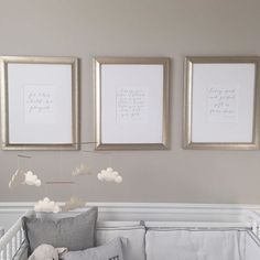 "I received a few questions and emails about the prints we have hanging above Charlie's crib, so I wanted to share them! The three framed verses are: ""For this child we prayed"" (I Samuel 1:37); ""I knew you before I formed you in your mothers womb, before you were born I set you apart"" (Jeremiah 1:5); and ""Every good and perfect gift is from above"" (James 1:17). I went back and forth between different artwork for the frames and kept coming back to these three verses. After struggling and…"