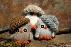 Adopt a Baby Owl ... Plush Angora Toy Eco Friendly felt wool Owl in a Nest... brown white gray (woolcrazy)