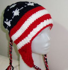 Hand Knit  Womens Hat - American Flag, Stars, Stripes Design - Red White Blue. $40.00, via Etsy.