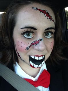Ventriloquist makeup, Halloween, Ventriloquist dummy, Ventriloquist doll. Face paint.
