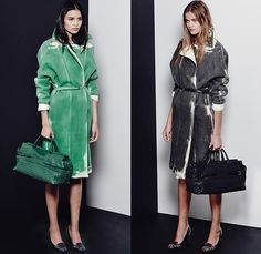 Bottega Veneta 2015 Pre Fall Autumn Womens Lookbook Presentation - Coat Silk Spray Paint Racing Checks Stripes Knit Sweater Dress Accordion Pleats Cardigan Cashmere Tweed Check Wool Wrap Outerwear Nautical Marinière Toggle Bag Handbag Skirt Frock Blouse Long Sleeve Flap Pockets Jumper Angular Hem Sheer Chiffon Blots Print Graphic Chain Solid