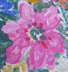 Vintage 1980s Fabric Pink Blue Green Floral Screen by CasaNero