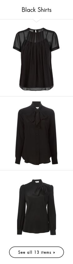 """Black Shirts"" by sandycyh ❤ liked on Polyvore featuring black, shirts, tops, blouses, blusas, evening blouses, keyhole shirt, pintuck shirt, loose blouse and special occasion blouses"